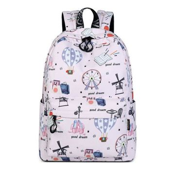 University College Backpack Cute Hot Air Balloon Pattern Printing  Casual Daily Waterproof Polyester Women s Girls  Daypack MochilaAT_63_4