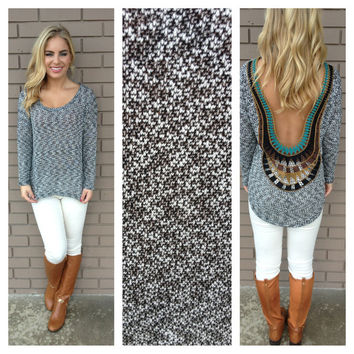 Black & White Knit Low Back Embroidered Top