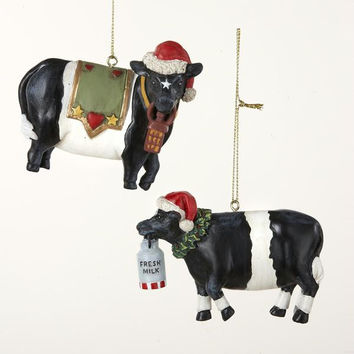 12 Cows With Santa Hats - Ready-to-hang On Gold Cords