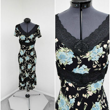 Vintage 90s Does 30s Betsey Johnson Black Floral Midi Dress, Crepe Bias Cut Dress, Lace Cutouts, Party Dress, Flutter Sleeve, Size XS S