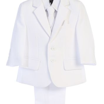 White 5-pc Boys Two Button Suit with Vest 6m-14
