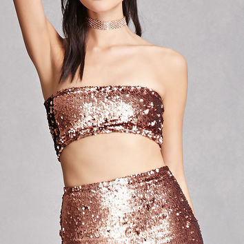 Motel Sequined Tube Top