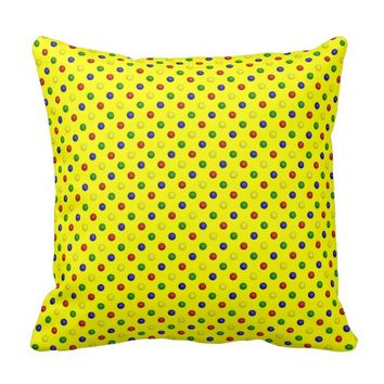 Primary Polka Dots Yellow-Square Throw Pillow