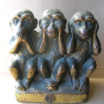 Brass Monkey Bank - Hear no Evil - See No Evil - Speak No Evil - Antique Brass Bank