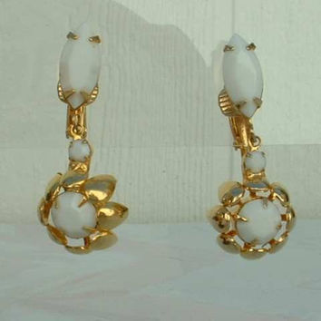 White Glass Dangle Earrings Clip Ons Navettes Classy Goldtone Jewelry