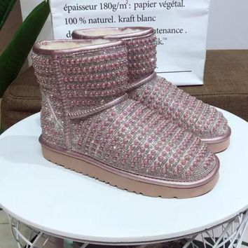UGG pearl rhinestone warm low tube snow boots Pink