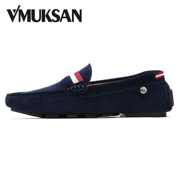 VMUKSAN Men's Loafers Big Size 39-47 Wine Suede Slip On Casual Shoes For Men Summer Leather Moccasins Penny Loafers