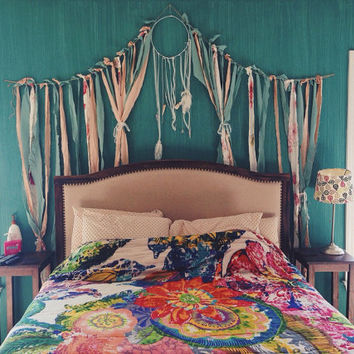Dreamcatcher ribbon curtain bedroom wall hanging