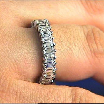 5.75ct EMERALD cut Diamond ETERNITY Wedding Ring 18kt White Gold JEWELFORME BLUE