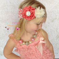 Coral and peach headband- Vintage style headband- adult headband- teen headband- toddler headband- infant headband