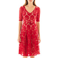 jcpenney   Danny & Nicole® Short-Sleeve Belted Lace Fit-and-Flare Dress