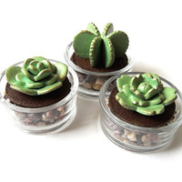 Handmade polymer clay succulent cactus - Add on for your candle/pot holder