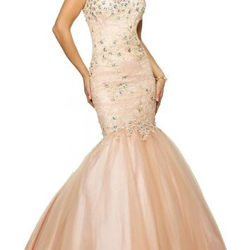 Artie 2015 Mermaid Sweetheart Lace Prom Dress with Jeweled Beading on Tulle
