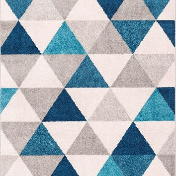 2901 Blue Gray Geometric Design Contemporary Area Rugs
