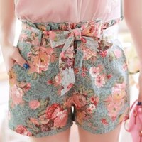Utopian Garden Paperbag Waist Floral Print Shorts | Sincerely Sweet Boutique