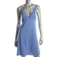 Lord & Taylor Womens Cotton Lace Trim Chemise