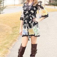 Vintage Boho Floral Belted Dress