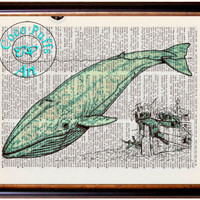 Sea Green Whale & Sunken Treasure Art Beautifully Upcycled Vintage Dictionary Page Book Art Print, Sea Life Print
