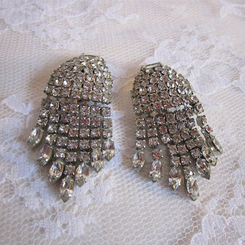 1960s WEISS Earrings Vintage Crystal Rhinestone Waterfall Silver Tone Clip On 60s Collectible Evening Earrings