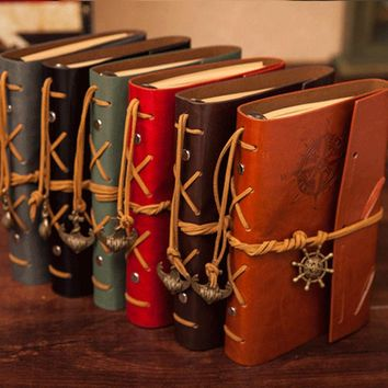 Classic Vintage Retro Classic PU Leather Blank Pages Notebooks And Journals Copper Plated Sea Anchor Travel Paper Sketchbook