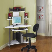 Kings Brand Pewter Finish Corner Workstation Kids Children's Computer Desk