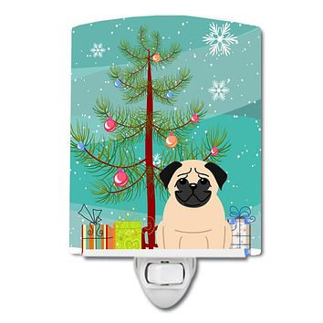 Merry Christmas Tree Pug Fawn Ceramic Night Light BB4133CNL