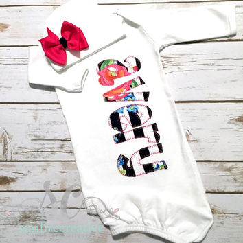Girl Coming Home Outfit Baby Gown Bow - Baby Girl Bring Home Outfit - Newborn Sleeper With Bow - Baby Name Gown - Baby Shower Gift for Girl