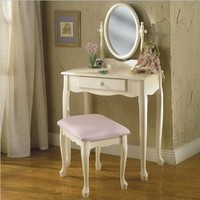 Powell Off-White Vanity and Bench Set