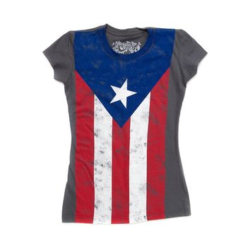 Girls Puerto Rico Flag Tee, Gray | Journeys Shoes