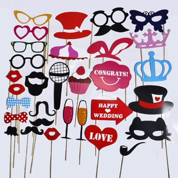 1 set DIY Wedding Decoration Photo Booth Props Funny Glasses Mustache Birthday Party Photo props for fun occasion