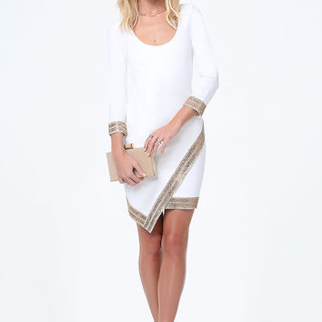 Embellished Wrap Hem Dress | bebe