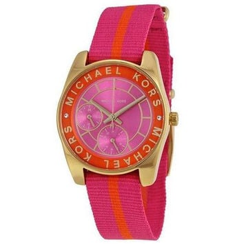 Michael Kors Women's Ryland Pink and Mandarin Grosgrain Strap Watch 33mm MK2401