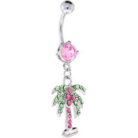 Pink CUBIC ZIRCONIA Paved PALM TREE Dangle Belly Ring | Body Candy Body Jewelry