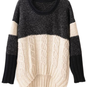 ROMWE | ROMWE Color Block Asymmetric Black Jumper, The Latest Street Fashion