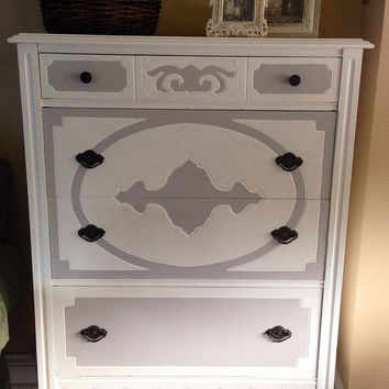 Vintage 1940's Dresser Hand Painted White With Light Grey Accents