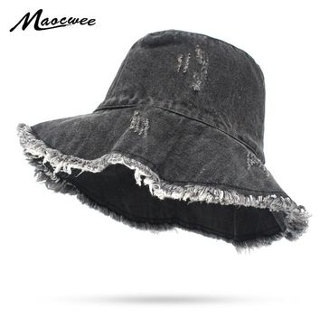 Unisex Cowboy Fisherman Cap Solid Panama Bucket Hat Girl Boy Flat Black Navy Outdoor Hunting Fishing Hats Women Washing Bucket