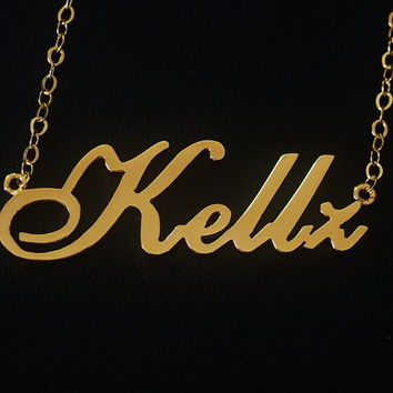 18k Gold Necklace, Name necklace, Personalized name necklace - Custom nameplate necklace , Necklace girl friend, letters necklace