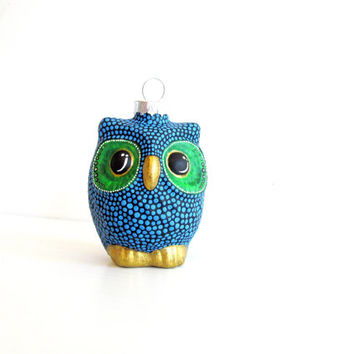Red Owl Christmas Ornament: dotted Owl Ornament Hand Painted Glass Ornament Christmas Owl