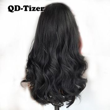Black Hair Short Wavy Lace Front Wig Glueless Body Wave 180 Density Synthetic Lace Front Wigs for Black Women with Baby Hair