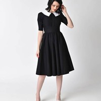 Stop Staring! 1950s Style Black Half Sleeve Almira Swing Dress