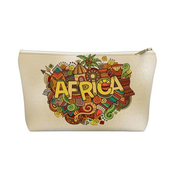 African Inspired Make up Pouch w T-bottom
