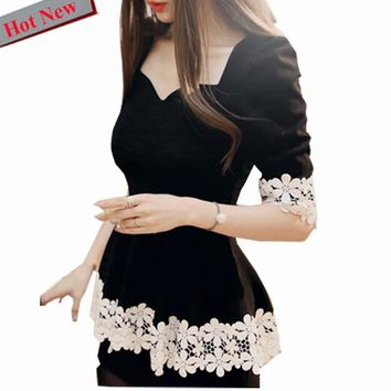Peplum Top Black Cute Sweet Blouses Shirt Autumn Winter Long Sleeve V Neck Slim Sexy Hollow Out Crochet Floral White Lace Blouse
