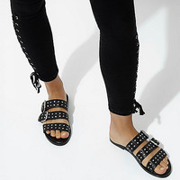 Black leather studded strap sandals