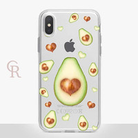 Avocado Clear Phone Case For iPhone 8 iPhone 8 Plus iPhone X Phone 7 Plus iPhone 6 iPhone 6S  iPhone SE Samsung S8 iPhone 5 Floral