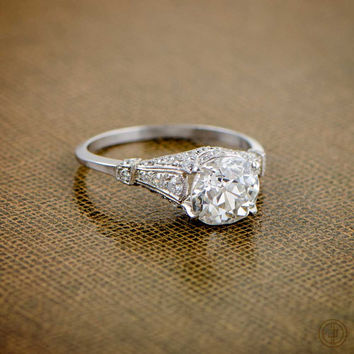 2.04ct Antique Old Mine Cut Diamond Engagement Ring - Estate Diamond Jewelry Collection - Circa 1920