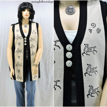 Long tribal vest size L / XL boho hippie ethnic festival vest 80s / 90s hand loomed cotton vest from Nepal SunnyBohoVintage