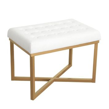 HomePop Rectangular Ottoman with White Velvet Tufted Cushion and Gold Metal X Base | Overstock.com Shopping - The Best Deals on Ottomans