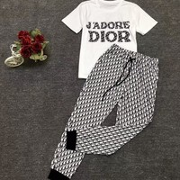 Dior New fashion more letter print top and pants two piece suit
