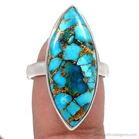 Copper Blue Turquoise Marquis sterling silver ring size 7.5