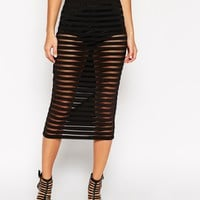 ASOS Midi Pencil Skirt In Sheer Stripe With Knicker Short